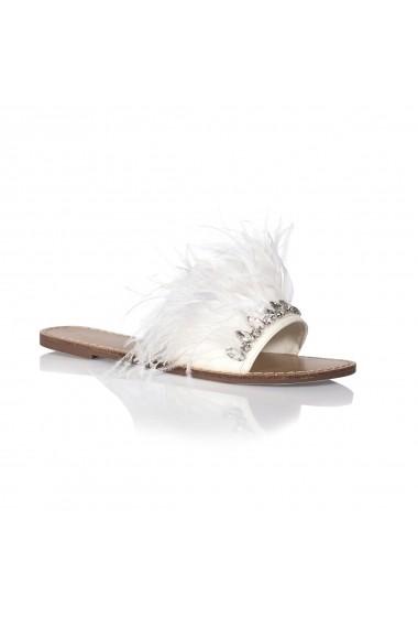 Papuci NISSA cu detalii din pene nsEXPA6006 Alb