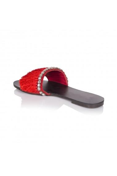 Papuci NISSA cu aplicatii din franjuri nsEXPA6007 Rosu