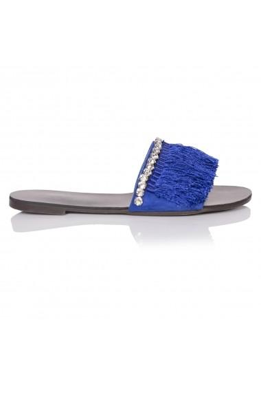 Papuci NISSA cu aplicatii din franjuri nsEXPA6007 Albastru
