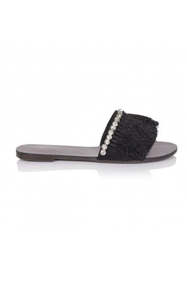 Papuci NISSA cu aplicatii din franjuri nsEXPA6007 Negru