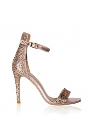Sandale cu toc NISSA elegante cu detalii stralucitoare Roz
