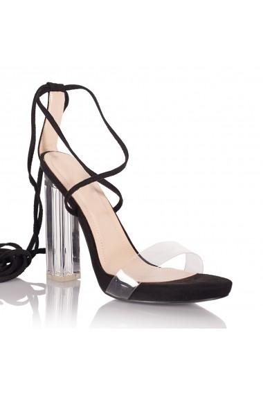 Sandale cu toc NISSA cu toc transparent nsexsa1896 Negru