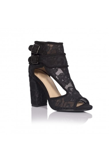 Sandale cu toc NISSA negre din dantela nsexsa5123 Negru