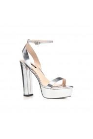 Sandale cu toc NISSA tip platforma Argintiu