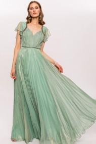 Rochie NISSA cu aspect lucios si detalii pretioase Verde
