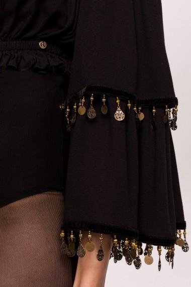 Top NISSA din vascoza pe umeri cu banuti aurii aplicati Negru