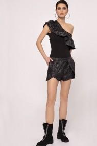 Body NISSA din vascoza cu design asimetric Negru