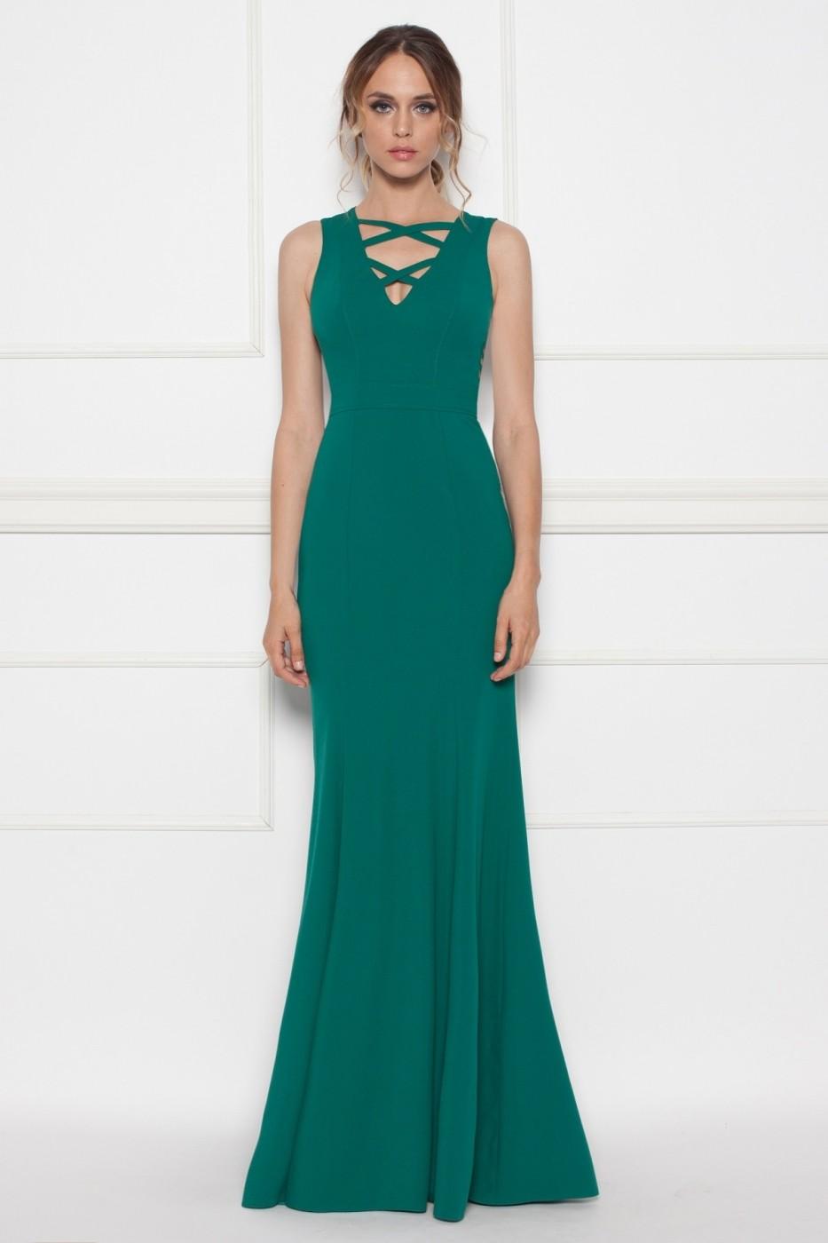 Rochie Lunga Clos Nissa De Seara Rs8417 Verde Fashionup