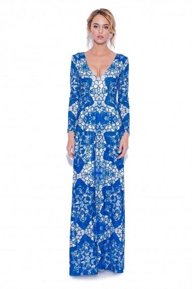 Rochie NISSA maxi cu paiete si print albastru Print