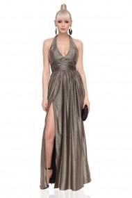 Rochie NISSA maxi eleganta cu efect metalic Auriu+neagra