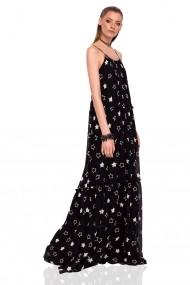 Rochie NISSA maxi cu imprimeu cu stele neagra