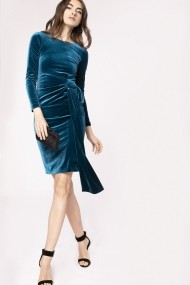 Rochie NISSA din catifea cu detaliu supradimensionat in talie Albastru