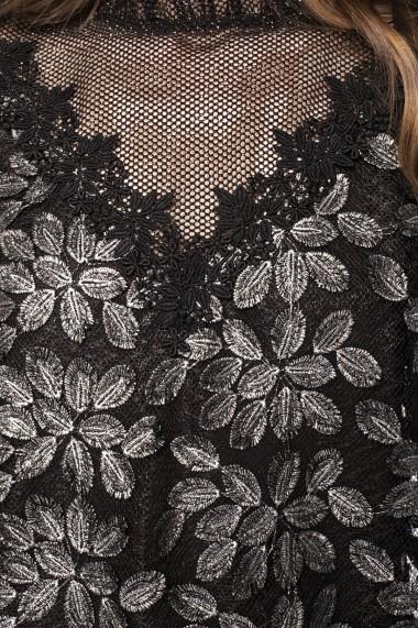 Rochie NISSA cu broderie florala si insertie transparenta Argintiu