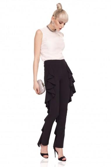 Pantaloni skinny NISSA eleganti cu volane Negru