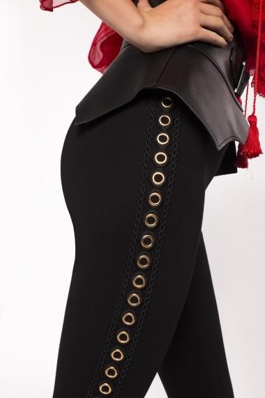 Pantaloni skinny NISSA cu vipusca cu capse metalice Negru