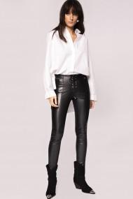 Pantaloni skinny NISSA din piele ecologica cu detaliu lateral Negru