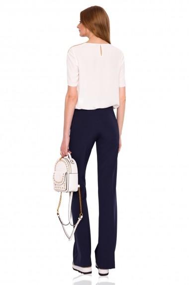 Pantaloni largi NISSA drepti cu talie medie Bleumarin