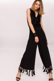 Pantaloni largi NISSA culottes cu franjuri Negru