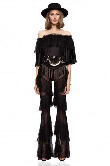 Pantaloni largi NISSA din dantela transparenta cu volane Negru