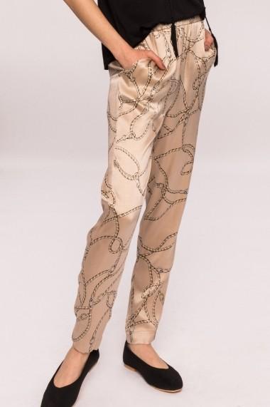 Pantaloni drepti NISSA slim cu imprimeu bej
