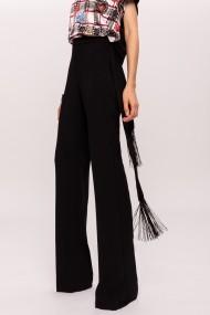 Pantaloni drepti NISSA evazati cu detaliu in talie Negru