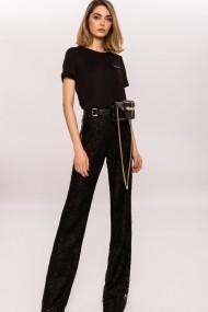 Pantaloni drepti NISSA evazati cu aplicatie de cristale Negru