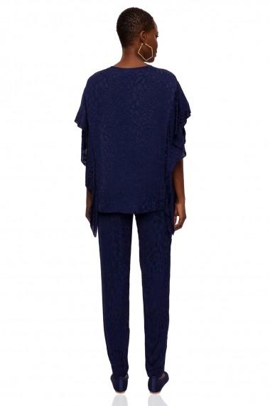 Pantaloni drepti NISSA cu imprimeu animal print Bleumarin
