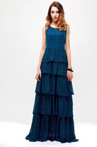 Rochie lunga din tesatura dantelata Prussian Blue - Cardinale Rosa albastru