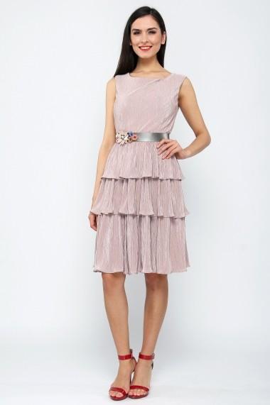 Rochie midi cu volane suprapuse - Perla Notte - Cardinale Rosa negru