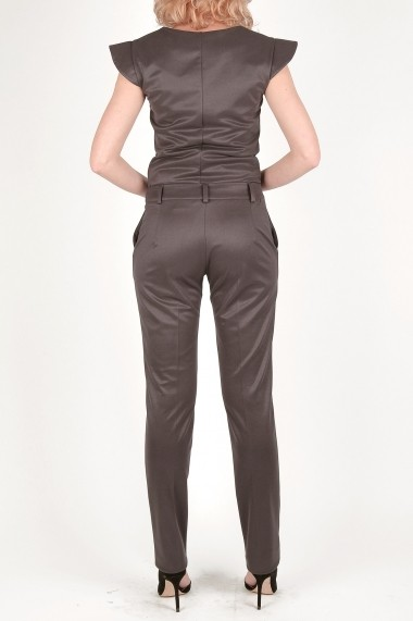 Pantaloni drepti eleganti gri-irizat Luce Notte - Cardinale Rosa gri, argintiu