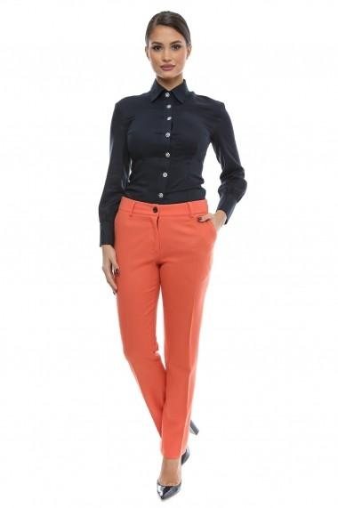 Pantaloni drepti grosi din lana Bright Winter Season - Cardinale Rosa oranj