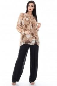 Bluza Roh Boutique Bej prevazuta cu esarfa - BR1391 Bej One Size