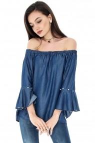 Bluza Roh Boutique denim, ROH, cu perle - BR1752 dark denim One Size