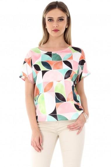 Bluza Roh Boutique crem, ROH, din satin printat - BR1767 crem|multicolor