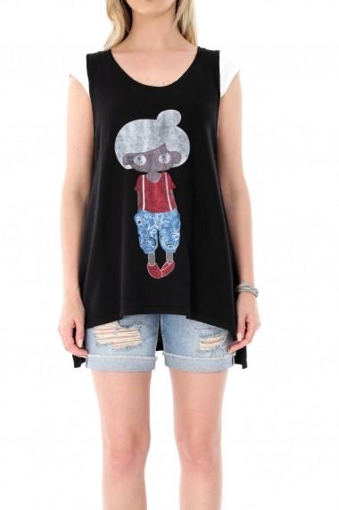 Bluza Roh Boutique neagra, ROH, cu imprimeu dragut - BR1810 negru One Size