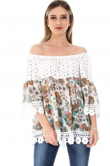 Bluza Roh Boutique crem, ROH, cu imprimeu floral - BR1799 crem|verde One Size