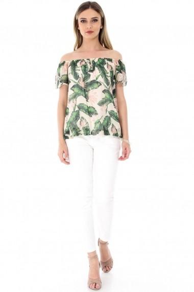 Bluza Roh Boutique crem, ROH, cu imprimeu vibrant - BR1798 verde|crem One Size