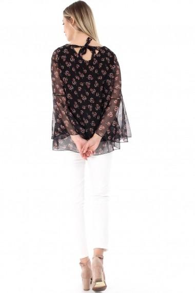 Bluza Roh Boutique neagra, ROH, cu imprimeu frunze - BR1779 negru One Size
