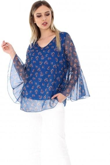 Bluza Roh Boutique albastra, ROH, cu imprimeu frunze - BR1778 albastru One Size