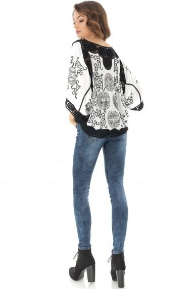 Bluza Roh Boutique alba scurta, cu broderie neagra, ROH - BR2069 alb|negru