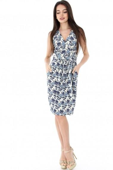 Rochie de zi Roh Boutique crem, ROH, cu buzunare - CLD917 crem|albastru