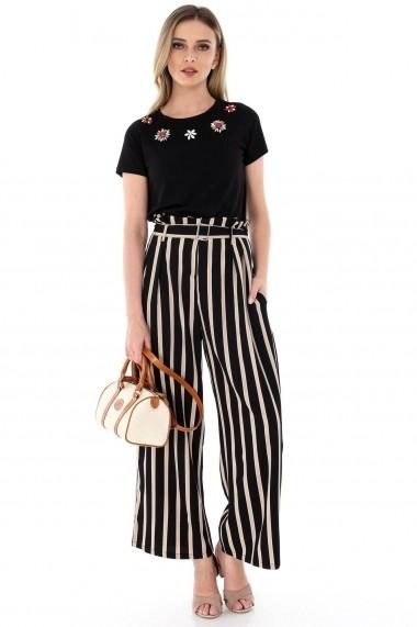 Pantaloni largi Roh Boutique negri, ROH, cu dungi - TR260 negru|bej