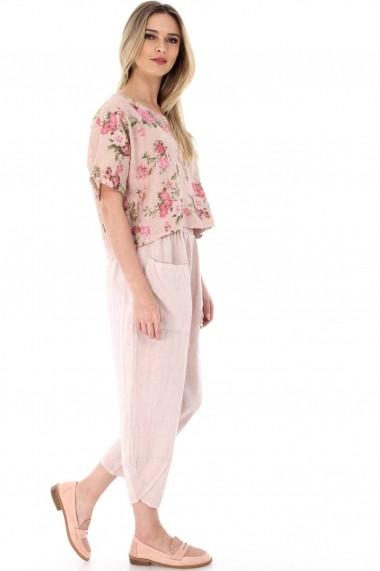 Pantaloni largi Roh Boutique roz, ROH, trei sferturi - TR227 roz One Size