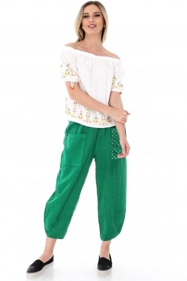 Pantaloni largi Roh Boutique verzi, ROH, trei sferturi - TR226 verde One Size