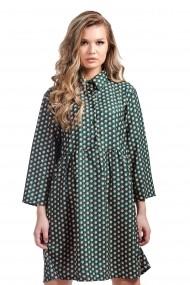 Rochie verde cu buline si guler camasa Rammi