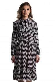 Rochie cu dungi Rammi din viscoza negru cu alb