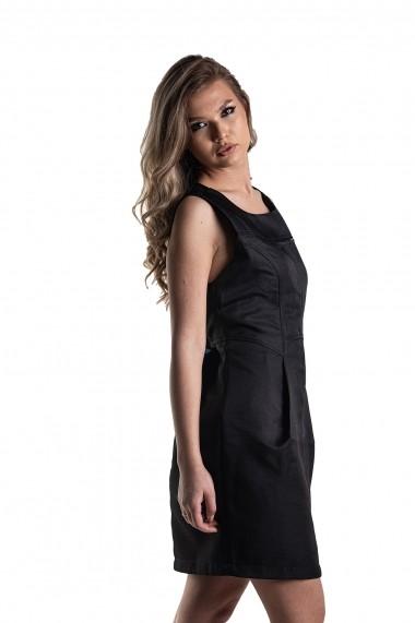 Rochie neagra Rammi din brocard cu spate din matase