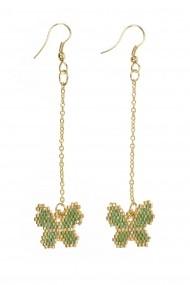 Cerceri Borro Design Bohemian Butterfly Earrings BRJWP0035 verde