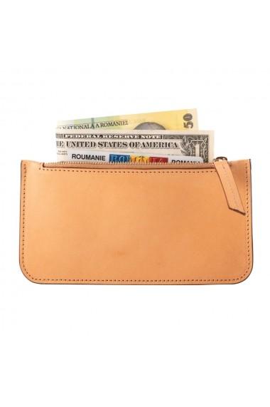 KIT cadou EA - portofel multifunctional e-store - breloc piele naturala bej