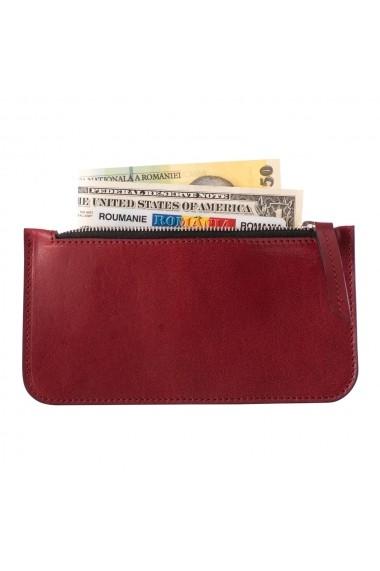 KIT cadou EA - portofel multifunctional e-store - breloc piele naturala bordo